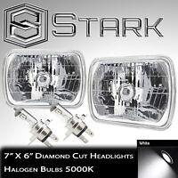 Pair H6054 7x6 Head Light Housing Glass Diamond Cut Lamp Chrome - H4 Bulbs (A)
