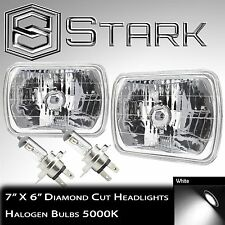 7x6 H6054 Head Light Housing Lamp Diamond Cut Glass / Chrome Pair - H4 Bulbs (B)