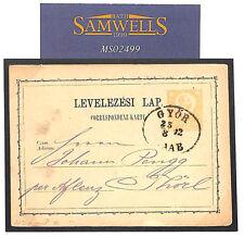 MS2499 1872 HUNGARY Superb Oval *GYOR* Postal Stationery Postcard