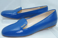 New Prada Shoes Ballet Flats Calzature Donna Vernice Size 36.5 Blue Leather