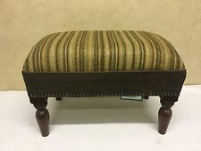 Footstool upholstered in 100% wool Stripe