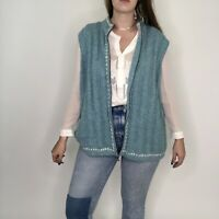 Woolrich Wool Blend Knit Ribbed Blue Aquifer Zip Up Sweater Vest 2XL Womens