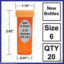 20 NEW Size 6 Dram Safety Small Empty RX Prescription Pill Bottles Craft Storage
