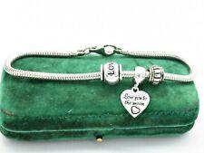 Vintage Sterling Silver Charm Bracelet Snake Link Love Art Deco 7.5 inch #W312