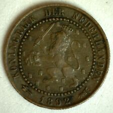1892 Netherlands Bronze 1 Cent Coin You Grade Circulated Wilhelmina I Ruler