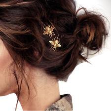 2 x Gold Abeja primavera verano diosa diapositiva Raro Pasadores de pelo Clip Amor Regalo Hermoso