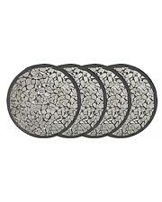 Set di 4 Rotondo Nero Vetro Specchio Mosaico Sottobicchieri