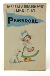 Pembroke Ontario Canada Girl And Dog Posted Written On Postcard E534