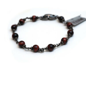 DAVID YURMAN Men's Rosary Bead Bracelet in Red Tigers Eye Sterling Silver Medium