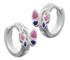 925 ECHT SILBER *** Kinder Klapp- Creolen Ohrringe Schmetterlinge pink-lila