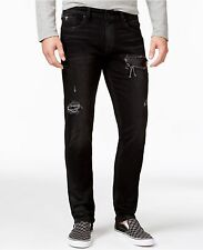 GUESS JEANS New Mens sz 32 GUESS Slim-fit Croc-panel Distressed Jeans BLK COATED