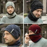 2-Pieces Men Women Winter Beanie Hat+Scarf Set Warm Knit Thick Fleece Lined Caps