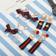 Italian Fashion Earring Wind Ways Chromatic Stripe Bow Cloth Art Pearl Earrings