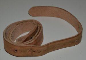 Vintage Child's Tan Brown Slim Leather Western Cowboy Indian Symbols Belt Rare