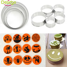 5Pcs Round Stainless Steel Pastry Cookie Cutters Biscuit Cake Decor Mold Mould