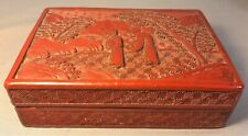 More details for antique chinese  carved cinnabar lacquer box