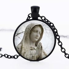 Mother Mary photo dome Black Cabochon Glass Necklace chain Pendant