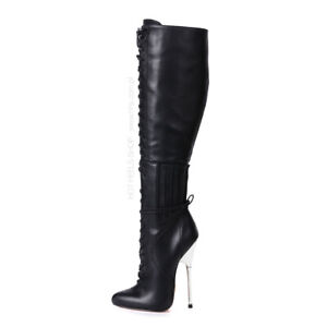 Giaro BRAINBUSTER knee high boots with metal heel and front lace-up