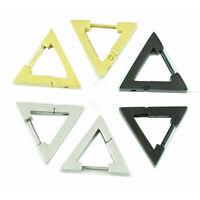 Punk Rock Pendientes de aro de acero inoxidable con triángulo para hombres