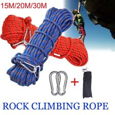 30m Climbing Rope+Buckle Rope with Carabiner Outdoor Climbing Rescue Rocp Safety