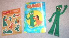 "Prema NJ Croce GUMBY 6"" bendable poseable toy figure + card, sticker sheet lot"