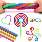 6pcs Sensory Fidget Toys Pull Monkey Noodle Stretchy String Kids Stress Relief
