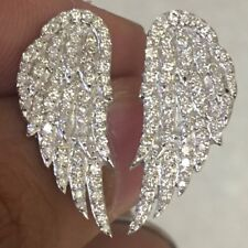 Angel wing 14k Solid white gold Diamond Ring with 154 stones 0.85 Carats.