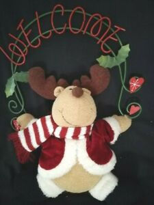 Vintage Christmas Welcome Reindeer Hanging Plush Door Wreath Xmas Decoration