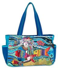 Laurel Burch Mermaid Mural Fish Flowers MED LG Tote Bag Outer Pockets Nw 2020