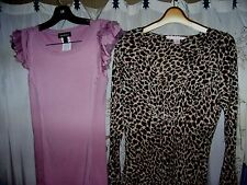 women's sz XS sexy stretchy lavender bebe top & Victoria's Secret animal print