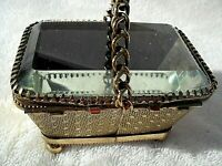 ANTIQUE BAROQUE ORMOLU BRASS HINGED BEVELED GLASS TRINKET JEWELRY BOX BASKET