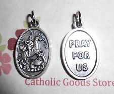Saint St. George / Pray for Us -  Silver tone  1 inch Medal