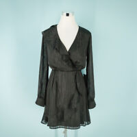 Chelsea28 Size Small S Ruffle Front Dress V-neck Blouson Sleeves W/ Button Cuffs