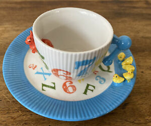 Anthropologie Children's Dishes Cup With Matching Plate 3D! ABC 123