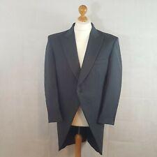 Torre Mens Long Tail Coat Blazer Jacket Navy Size 42R Worsted Wool Herringbone