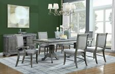 7 Pc Weathered Ash Grey Pedestal Dining Table Chairs Dining Room Furniture Set