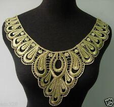 VK246 Metallic Gold Trim Venise Applique Motif Paisley Flower Collar Fashion