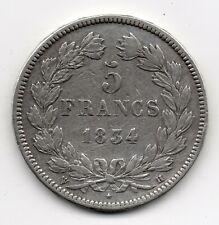 LOUIS-PHILIPPE 5 FRANCS ARGENT 1834 H LA ROCHELLE !