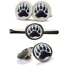 GAY BEAR PAW PRINT CUB CUFFLINKS TIE SLIDE LAPEL SUIT PIN