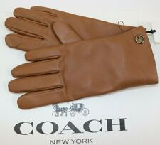 Coach Size 6.5 Women's Saddle 100 Soft Leather Wool Lined Tech Gloves