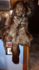 Silver Fox Fur Hat With full leather body Black Tail handmade in Wisconsin