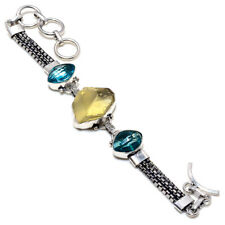 "Citrine Rough, Blue Topaz Gemstone 925 Sterling Silver Bracelet 7-9"" RZ-3165"