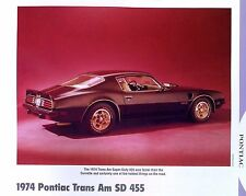 1974 Pontiac Firebird Trans Am SD 455 ci info/specs/photo prices production 11x8