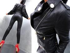 NEU LEDER OPTIK SCHWARZ LEATHER LOOK Damen Jacke Mantel P51 Blazer Coat XXL