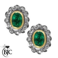 Diamant Echtschmuck im Cluster-Stil mit Smaragd-Hauptstein