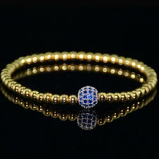 Mens 18k Gold Plated Diamond Ball Beaded Bracelets Blue Crystal on Silver