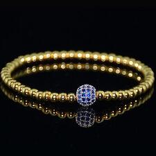 Mens 18k Gold Plated Diamond Ball Beaded Bracelets Blue Crystal on Silver