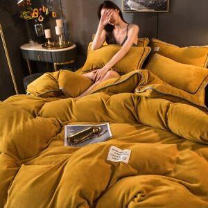 Flannel Bedding Set Duvet Cover Linen Fleece Velvet Warm Soft Bedclothes Solid