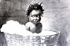 Black Americana BABY GIRL in TUB BATHING Free Cotton 1896 Kemble Matted Print