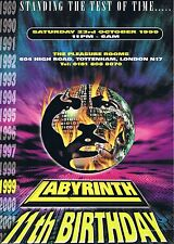 LABRYNTH Rave Flyer Flyers A4 23/10/99 The Pleasure Rooms Tottenham London N17